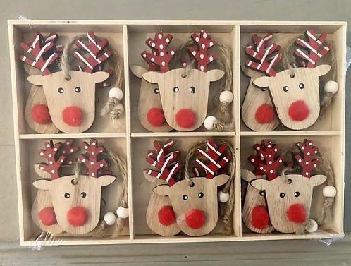 1Boxed Wooden Reindeer hanging set.