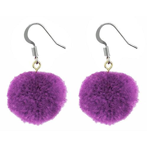 Purple Pom Pom earrings