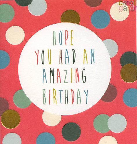 Hope you had an amazing Birthday