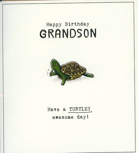 Grandson, Have a Turtley awesome day.