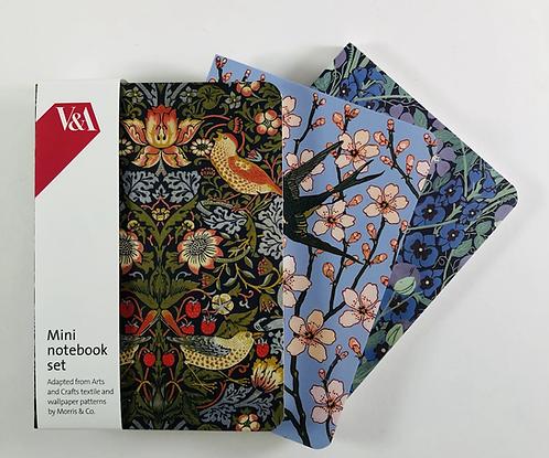 Set of 3 Morris Design Notebooks.