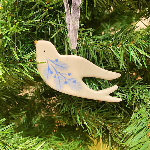 Blue & White Flat Ceramic Dove