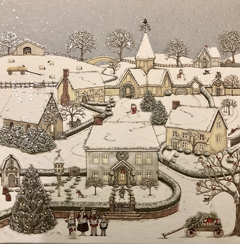 Snowy Village Box of 8 Christmas Cards.