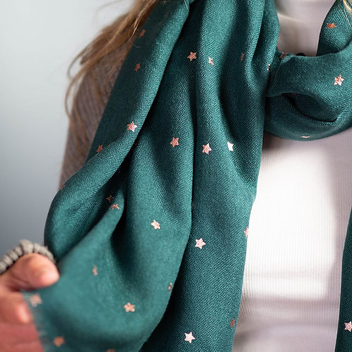 Teal Green Fringed Scarf with Rose Gold Stars