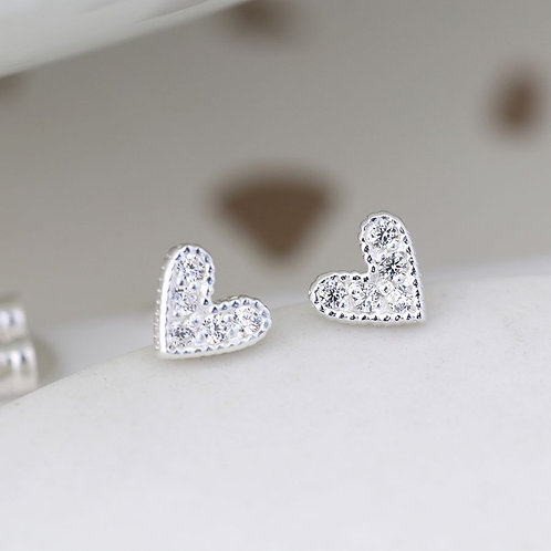 Sterling Silver Tiny Crystal Heart Stud Earrings