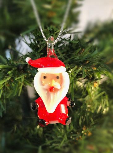 Blown Glass Santa Sitting