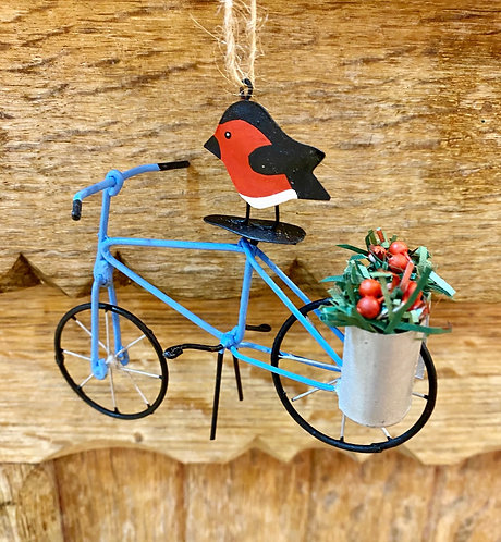 Metal Crafted Robin on Blue Bicycle Decoration