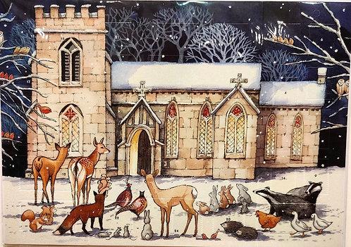 Advent Calendar Church with Animals