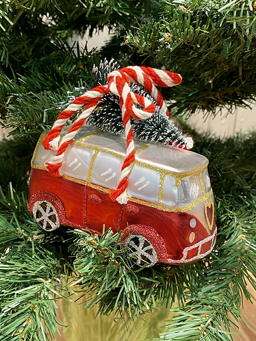 Red Campervan glass bauble with Christmas tree