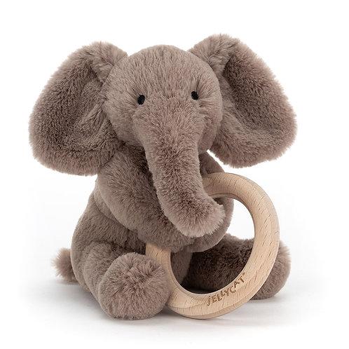 Jellycat Shooshu Elephant Wooden Ring Pull
