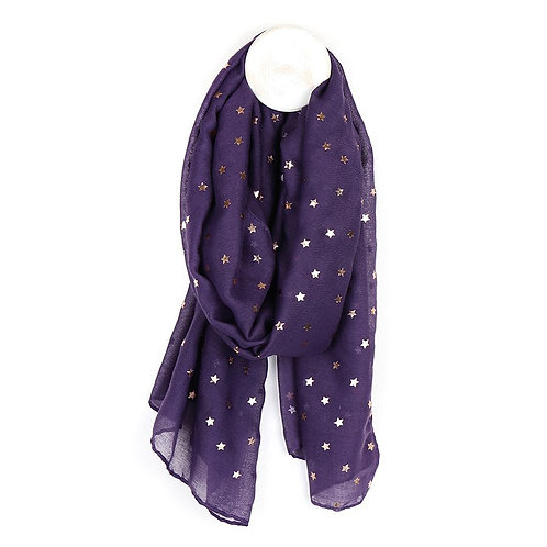 Purple Scarf with Rose Gold Foil Stars