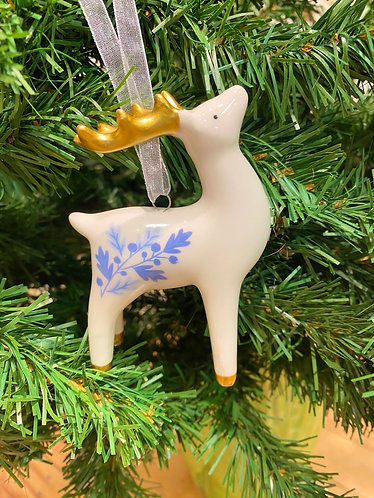 Blue & White Ceramic Reindeer