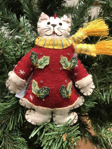 Felt Christmas Cat in Red dress