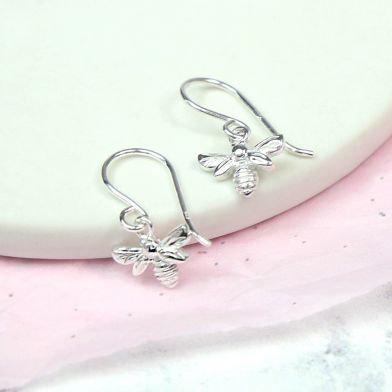 Sterling Silver Tiny Bee Drop Earrings