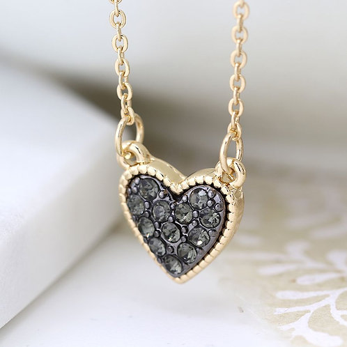 Gold Plated Black Crystal Heart Necklace
