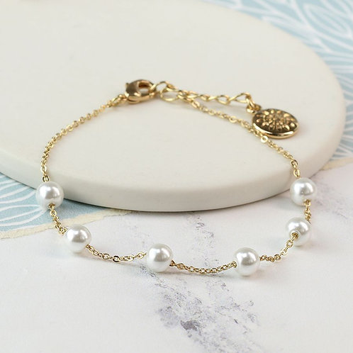 Gold Plated Dainty Bracelet With White Glass Pearls