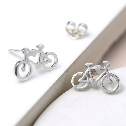 Tiny Sterling Silver Bicycle Stud Earrings