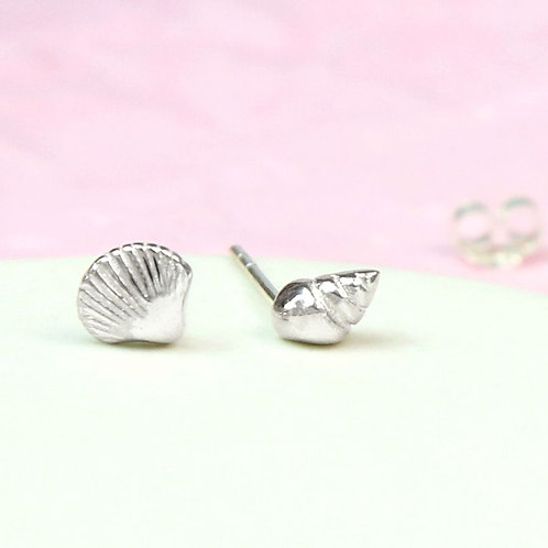Sterling Silver Tiny Mismatched Shell Stud Earrings
