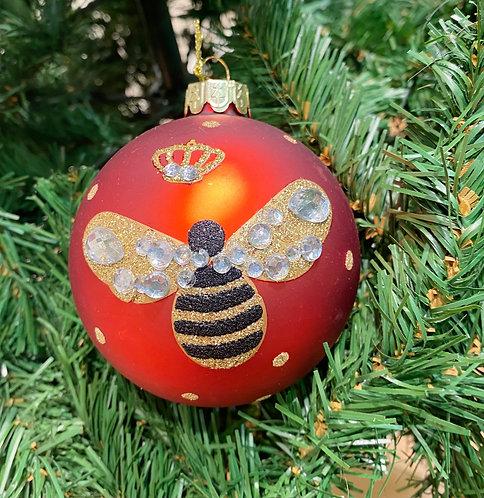 Matt Red Glass Bauble with Gemstone Bee