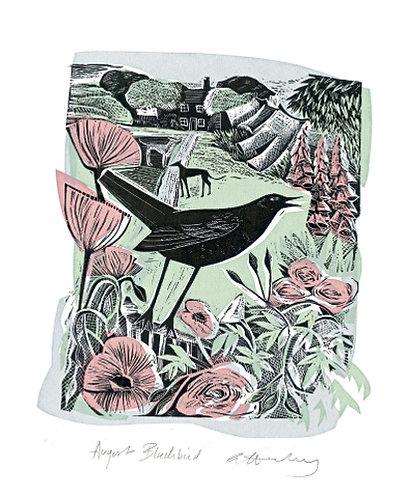 Angela Harding August Blackbird Card