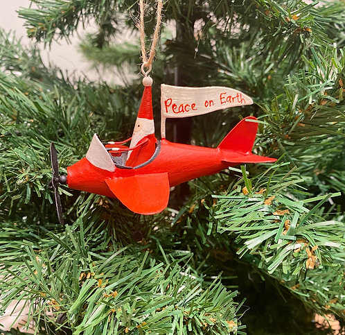 Tin Aeroplane Santa Hanging Decoration