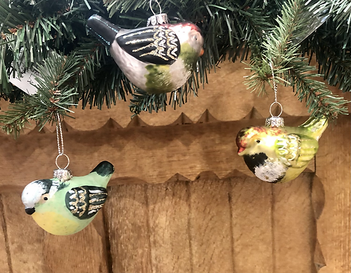 Painted Glass Bird decoration. 3 assorted
