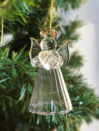 Glass Angel holding Heart.