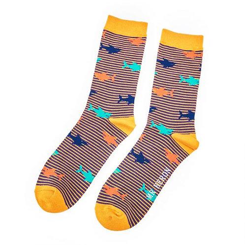 Men's Socks Sharks on Mustard