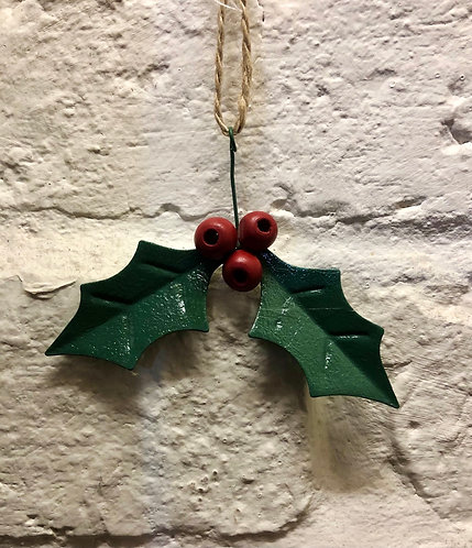 Metal Holly Decoration