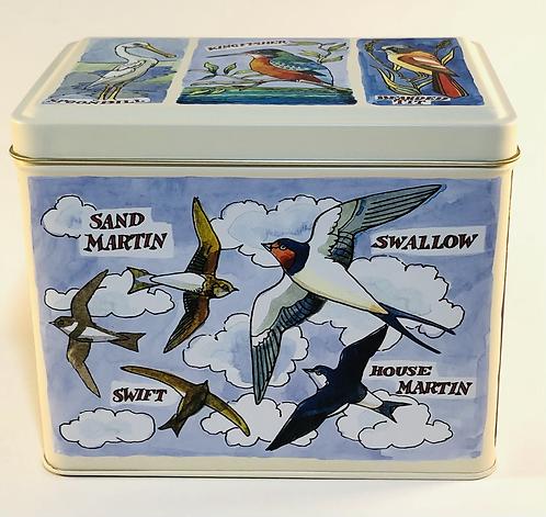 Storage tin. Bridge water Bird design.