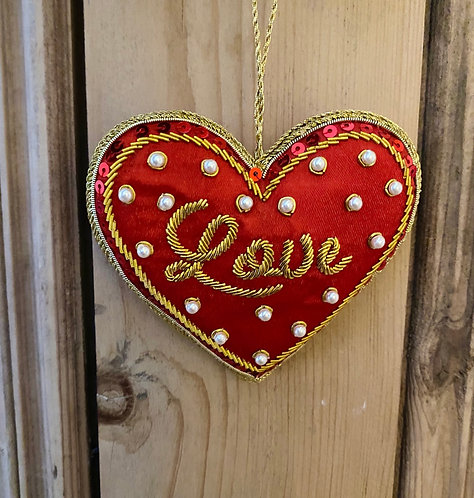 Red Love Heart Fabric Decoration