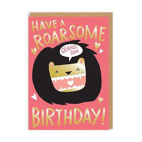 Roarsome Grandson Birthday Card