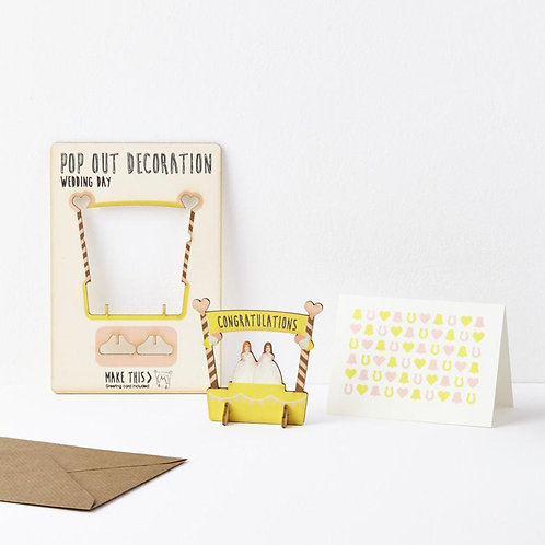 Pop-Out Bride & Bride Wooden Card