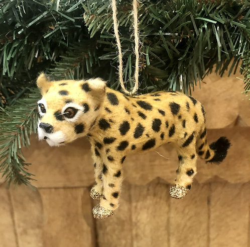 Faux Fur Cheetah tree decoration