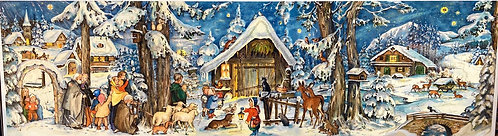 Traditional German Advent Calendar Christmas Animals and Barn Scene