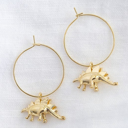 Stegosaurus Gold Hoop Earrings