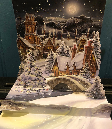 Christmas Card Treasures Pop-Up Village Midnight