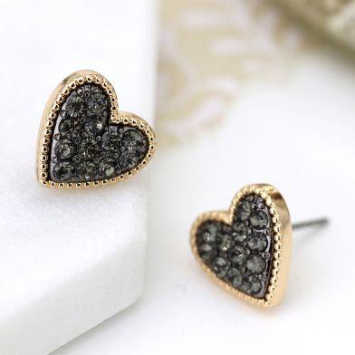 Gold Plated Black Crystal Heart Stud Earrings