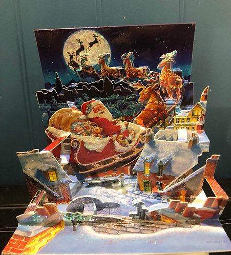 Christmas Card Treasures Pop-Up Santa Sleigh
