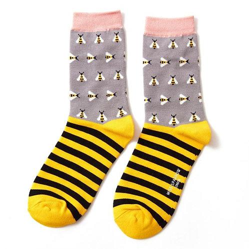 Women's Socks Bees Grey & Yellow