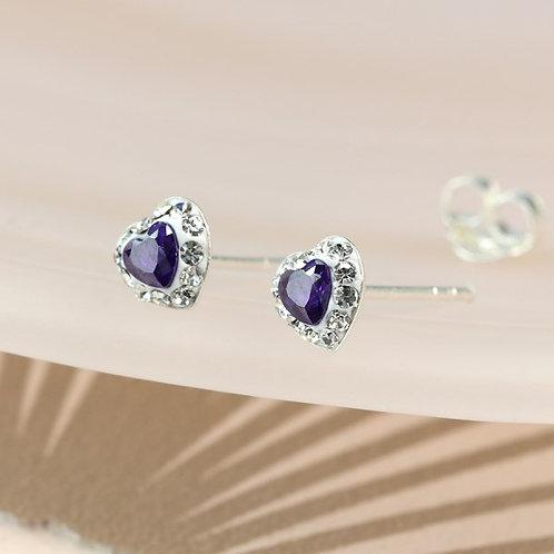 Sterling silver Tanzanite crystal heart stud earrings