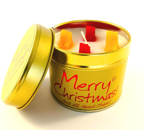 Lily Flame Scented Candle tin, Merry Christmas.