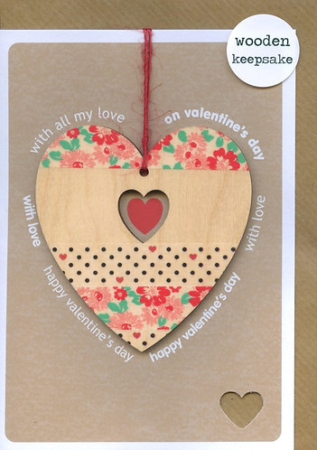 Valentines day, Wooden Heart Keepsake.