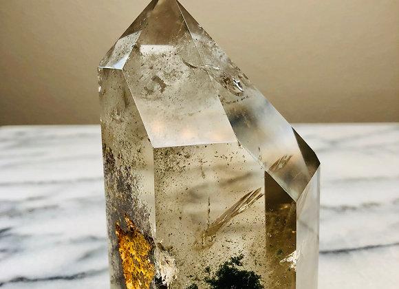 Clear Quartz Smoky Quartz Crystal Polished Point-  549 grams