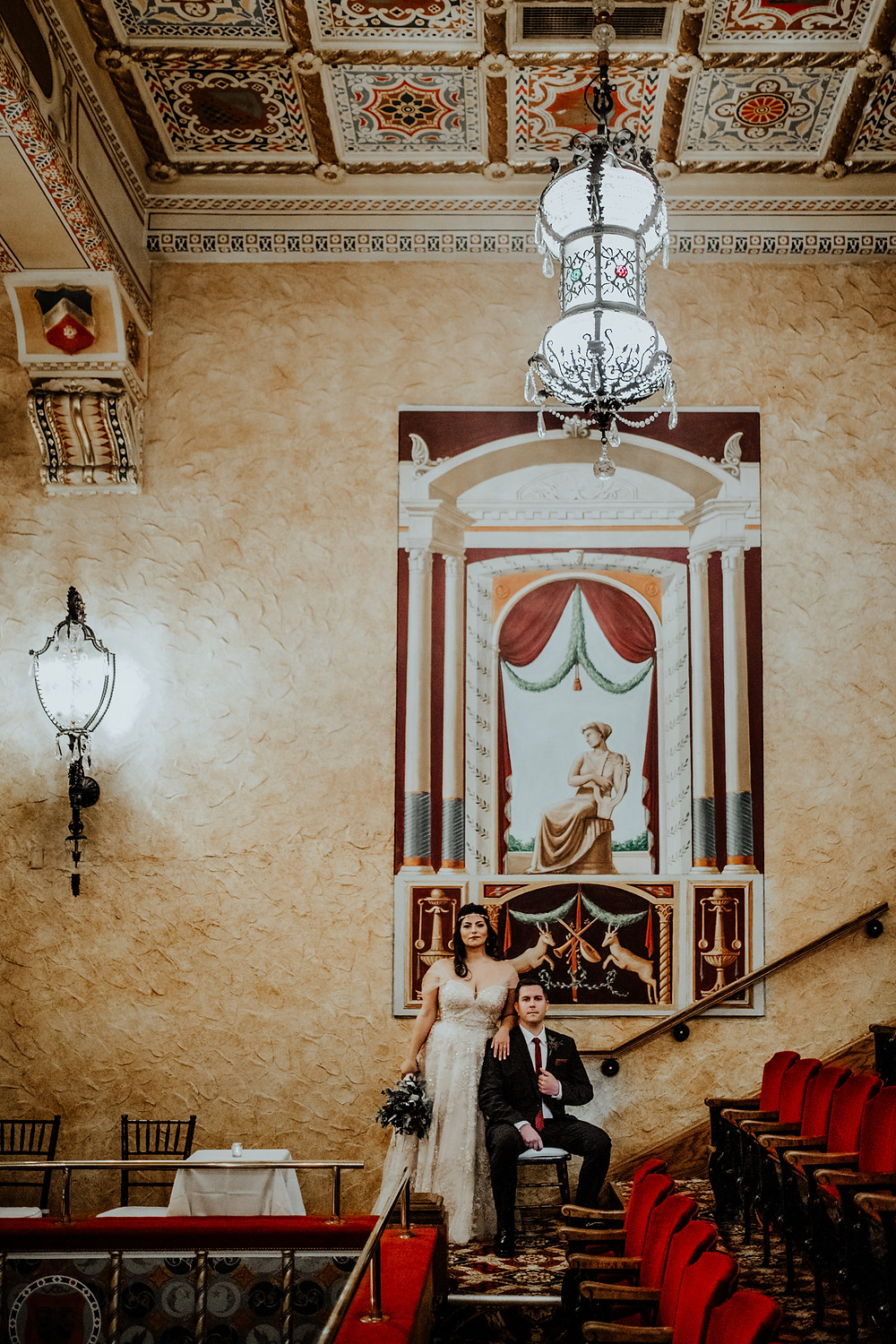 wedding photo at the gem theater taken by little blue bird photography in detroit, michigan