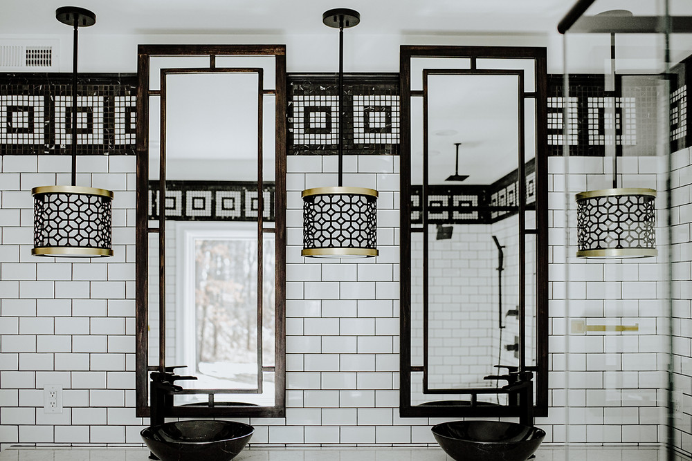 modern black and white marble tile bathroom by michigan valley homes in brooklyn, michigan.