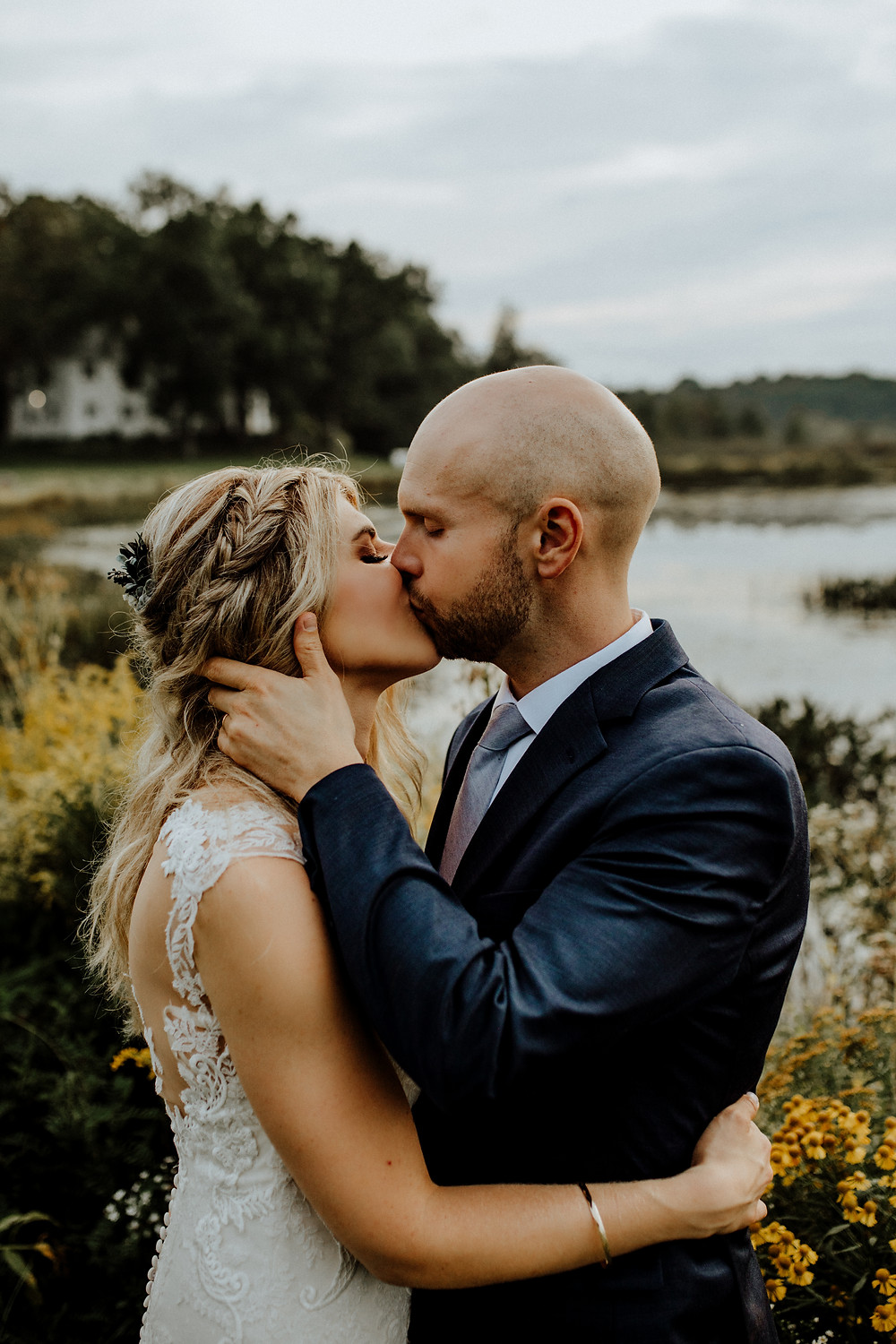 artistic wedding photo taken by detroit area elopement photographer, little blue bird photography, at waldenwoods in howell, michigan.