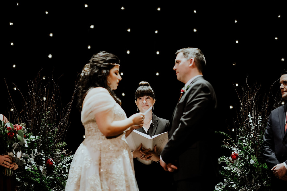 wedding photo by Little Blue Bird Photography at the Gem Theater in Detroit Michigan