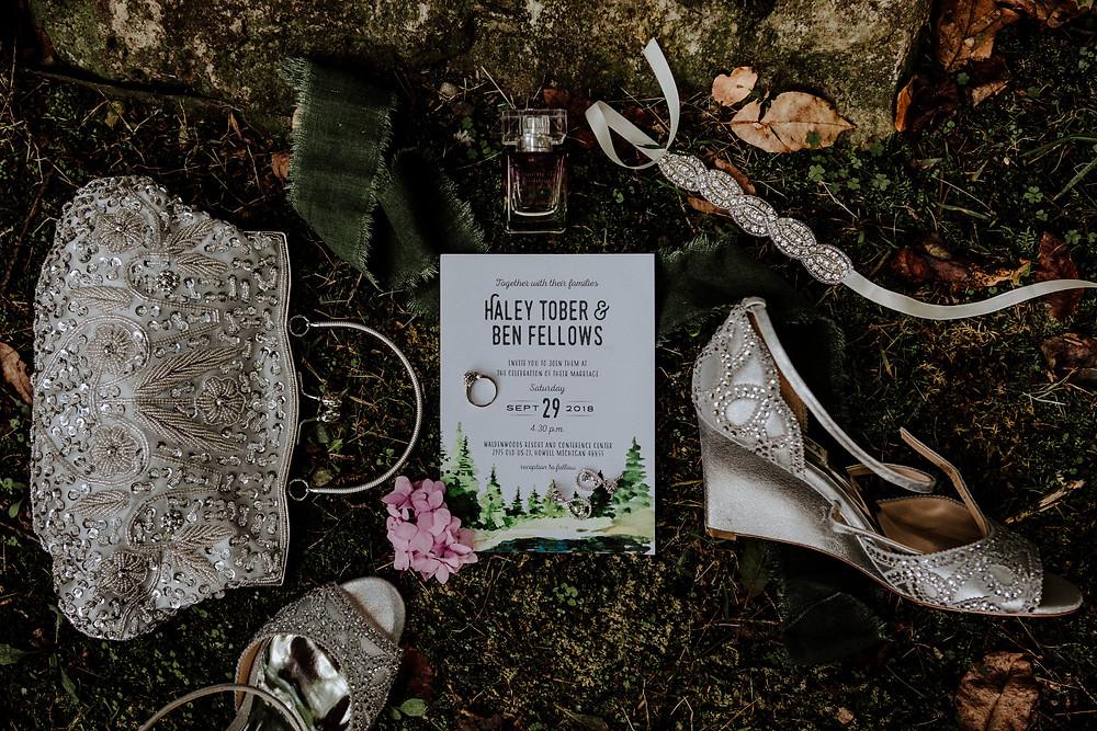 wedding photo by Little Blue Bird Photography in Hartland, Michigan, at Waldenwoods