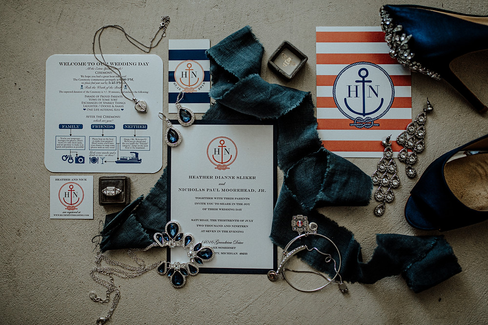 lake wedding and nautical stationary photo by detroit area wedding photographer little blue bird photography